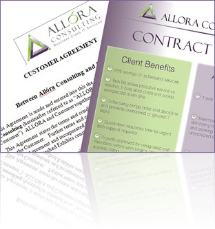Majority of our clients take <a href=images/pdf/client_contract_benefits.pdf>advantage of Allora`s customer agreement system</a> <br >which organizes IT support services and gives a 25% discount.